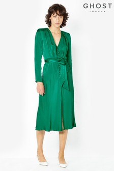 Ghost London Green Meryl Button Through Satin Dress