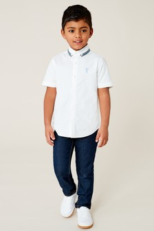 Short Sleeve Tape Collar Detail Shirt (3-16yrs)