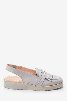 Forever Comfort® Leather Fringe EVA Slingbacks
