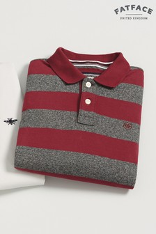 FatFace Red Cromford Stripe Polo