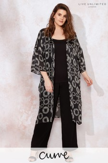 Live Unlimited Black Mono Abstract Floral Kimono Jacket