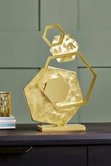 Gold Metal Hexagon Sculpture