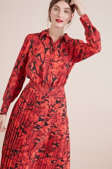Print Pleat Dress