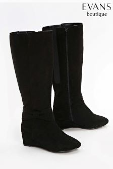 Evans Black Extra Wide Fit Bow Detail Wedge Long Boot