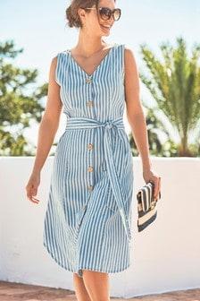 Striped Button Through Dress