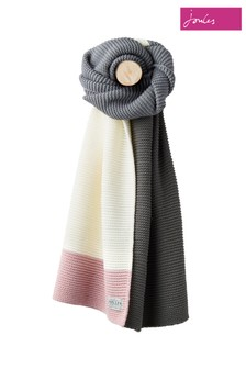 Joules Light Grey Oversized Knitted Scarf