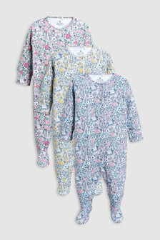 Ditsy Floral Sleepsuits Three Pack (0mths-2yrs)