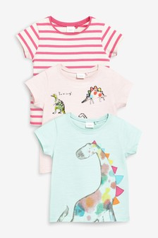 Dinosaur Short Sleeve T-Shirts Three Pack (3mths-7yrs)