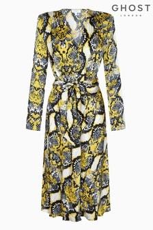 Ghost London Animal Meryl Snakeskin Print Satin Dress