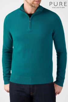 Pure Collection Green Cashmere Zip Neck Sweater