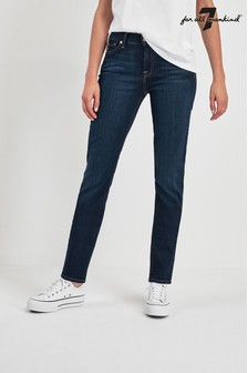 7 For All Mankind® Dark Indigo Mid Rise Skinny Jean