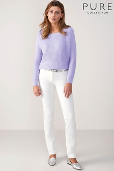 Pure Collection White Cotton Straight Jean