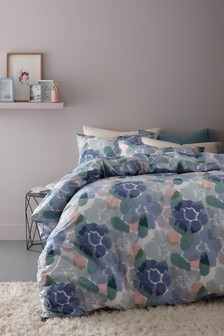 Inky Blue Floral Duvet Cover and Pillowcase Set