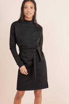 Funnel Neck Jersey Dress
