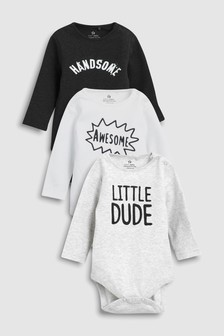 Slogan Long Sleeve Bodysuits Three Pack (0mths-2yrs)