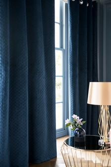 Pinsonic Geo Velvet Eyelet Curtains