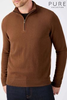Pure Collection Bronze Cashmere Zip Neck Sweater