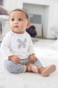 Butterfly T-Shirt, Leggings And Headband Set (0mths-2yrs)
