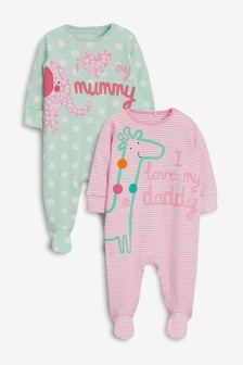 Mummy & Daddy Character Sleepsuits Two Pack (0mths-2yrs)