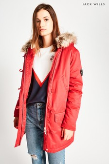 Jack Wills Red Lachbury Ultimate Parka