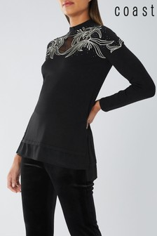 Coast Black Rene Embellished Knit Top