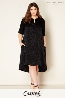 Live Unlimited Black Zebra Jacquard Shirt Dress