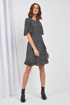 Spot Print Frill Dress