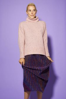 Oliver Bonas Pepper Pink Nepped Roll Neck Jumper