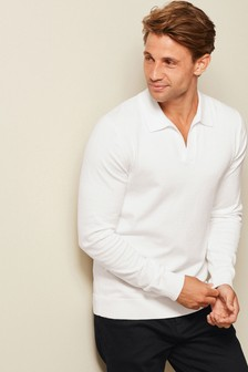 Cotton Knitted Trophy Neck Polo