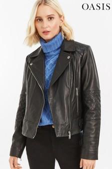 Oasis Black Leather Biker Jacket
