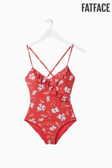 FatFace Red Bold Blooms Ruffle Swimsuit