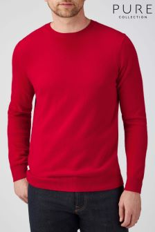 Pure Collection Red Cashmere Crew Neck Sweater