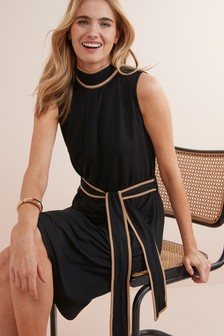 Piped Detail High Neck Dress