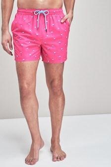 Flamingo Print Swim Shorts