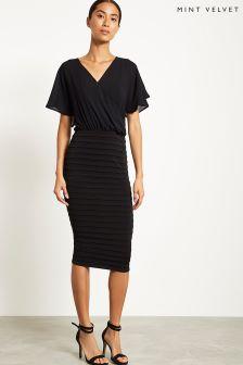 Mint Velvet Black Wrap Front Bandage Dress