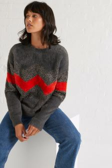 Oliver Bonas Grey Chevron Tinsel Jumper