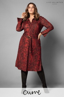 Live Unlimited Red Snake Print Shirt Dress With Buckle Belt