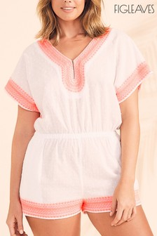 Figleaves White Dobby Playsuit