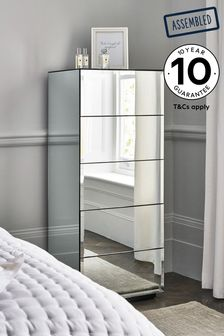Sloane Mirrored 5 Drawer Tall Chest
