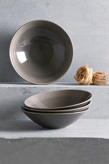 Set of 4 Kala Embossed Pasta Bowls