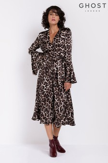 Ghost London Leopard Annabelle Fluted Sleeves Satin Dress