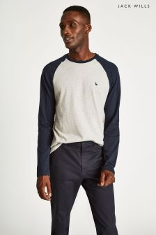 Jack Wills Black Audley Long Sleeve Raglan T-Shirt