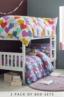 2 Pack Bright Hearts Duvet Cover and Pillowcase Set