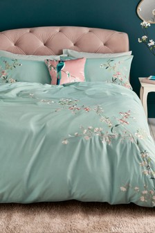 Cotton Sateen Embroidered Floral Duvet Cover And Pillowcase Set