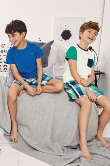 Sporty Check Woven Pyjamas Two Pack (3-16yrs)