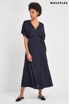 Whistles Navy Spot Wrap Jersey Dress
