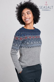 Seasalt Leaf Stormcloud Trellis Jumper