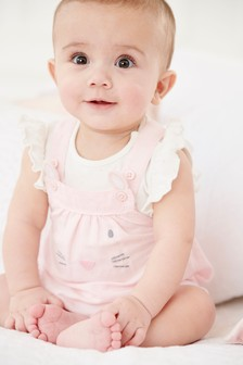 Linen Blend Bunny Dungarees And Bodysuit Set (0mths-2yrs)