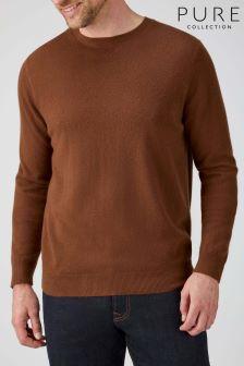 Pure Collection Bronze Cashmere Crew Neck Sweater