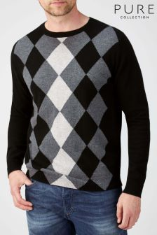 Pure Collection Black Cashmere Crew Neck Sweater